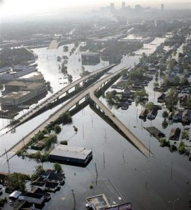 A SEA:  Highways disappear into the water / Photo:  New Orleans Times-Picayune