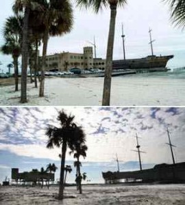 CASINO BOAT: It's there in the top photo, but gone after the storm / Photo: Unknown