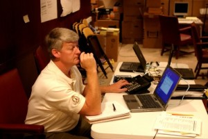 BART BRAGG: Long hours at command center / Photo: Skip Federico