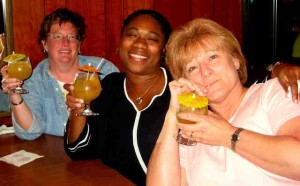 RARE BREAK: HR staff Lynn Callery, Juanette Scott, Yvette Soniat have dinner out / Photo: Unknown