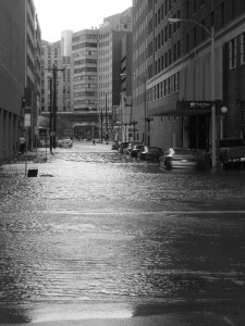 BLEAK VIEW: Street transformed into river / Photo: Karen Childs