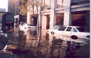 AWASH: Flooded streets around the bank / Photo: Chad Kannady