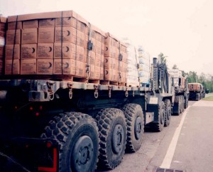 GUARDSMEN SET UP: Truckloads of supplies brought in / Photo: Chad Kannady