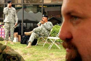 GEN. HONORE: Army commander chats in background; Robert Minint, foreground / Photo: Skip Federico