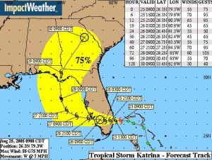 FLORIDA LANDFALL: Friday map eases worry / Graphic: ImpactWeather