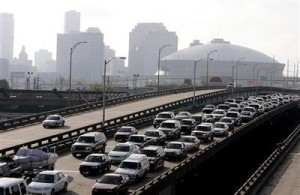 JAM:  New Orleans cars wait to get into contra-flow / Photo: AP