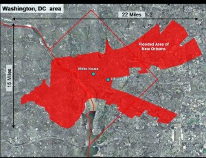 HUGE AREA: The New Orleans flood zone was as big as the nation's capital / Graphic:  Bring New Orleans Back Commission