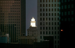 SHINING AGAIN: Hibernia  Tower relit for world to see / Photo: Rick Loomis, LA Times